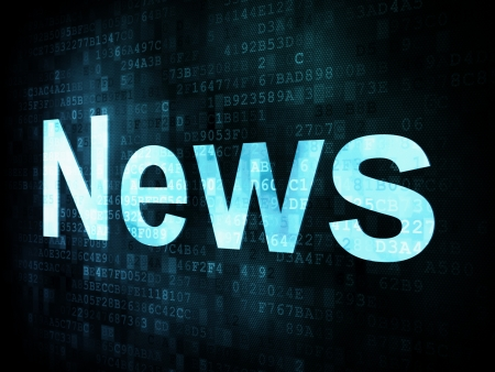News and press concept: pixelated words News on digital screen, 3d render  photo