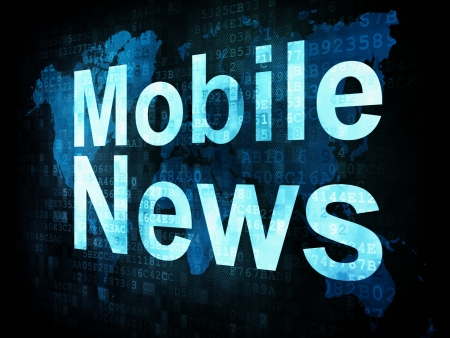 News and press concept: pixelated words Mobile News on digital screen, 3d render
