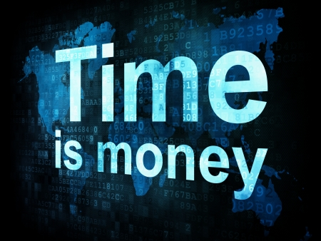 Time concept: pixelated words Time is money on digital screen, 3d render photo