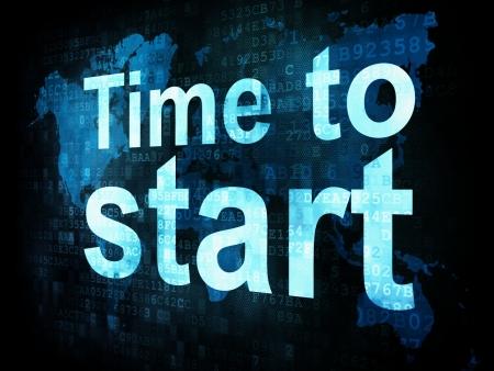 cronologia: Concepto de Tiempo: El tiempo para empezar las palabras pixelado en la pantalla digital, 3d