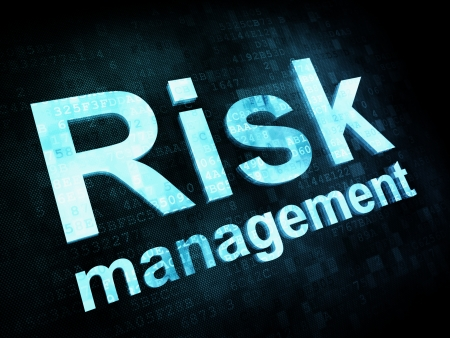 projects: Management concept: pixelated words Risk management on digital screen, 3d render