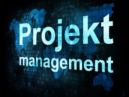 El concepto de gesti�n: la gesti�n de pixelado Projekt las palabras en la pantalla digital, 3d