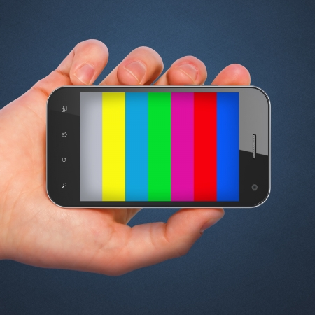 Hand holding mobile smart phone with tv test pattern screen, 3d render photo