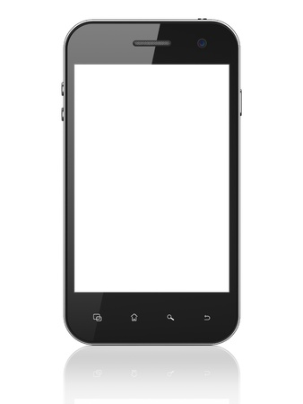 black phone and call: Beautiful smartphone on white background. Generic mobile smart phone, 3d render Stock Photo