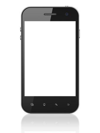Smartphone belle sur fond blanc. Générique téléphone mobile intelligent, 3d render