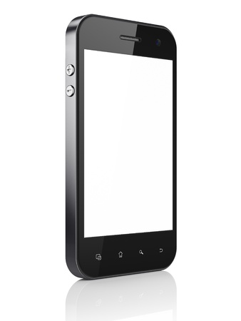smart  phone: Beautiful smartphone on white background. Generic mobile smart phone, 3d render Stock Photo
