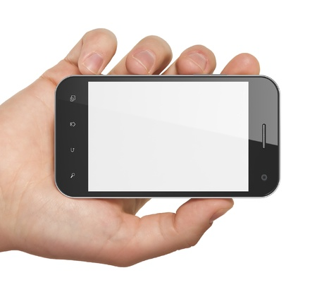 dialing: Hand holding smartphone on white background. Generic mobile smart phone, 3d render.