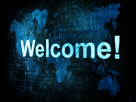 Information technology IT concept: pixelated words Welcome on digital screen, 3d render Stock Photo - 15856739