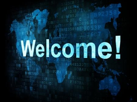Tecnolog�as de la informaci�n IT concepto: palabras pixelados bienvenida en la pantalla digital, 3d render