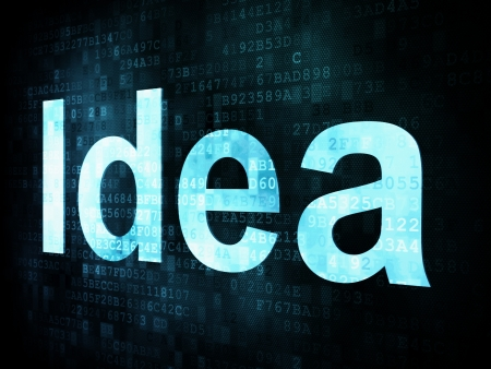 Brainstorm, thinking, idea concept: pixelated words Idea on digital screen, 3d render Stock Photo - 15856774