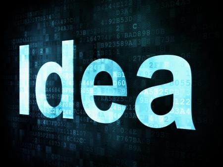 Brainstorm, thinking, idea concept: pixelated words Idea on digital screen, 3d render Stock Photo - 15856774