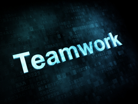 Job, work concept: pixelated words Teamwork on digital screen, 3d render photo