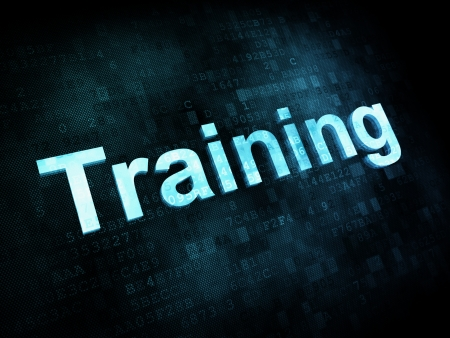 Job, work concept: pixelated words Training on digital screen, 3d render Stock Photo - 15856723