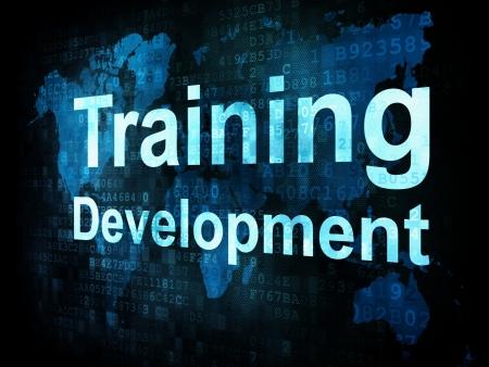 Job, work concept: pixelated words Training Development on digital screen, 3d render Stock Photo - 15856677