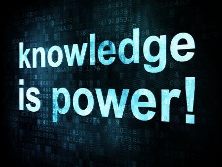 Education and learn concept: pixelated words knowledge is power on digital screen, 3d render photo