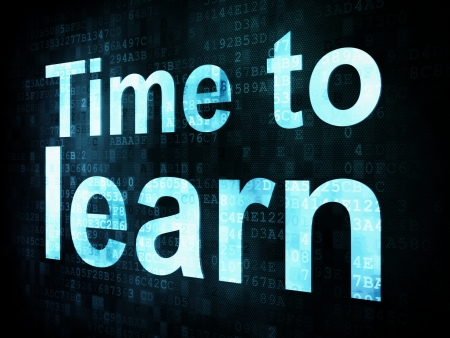 Education and learn concept: pixelated words Time to learn on digital screen, 3d render photo