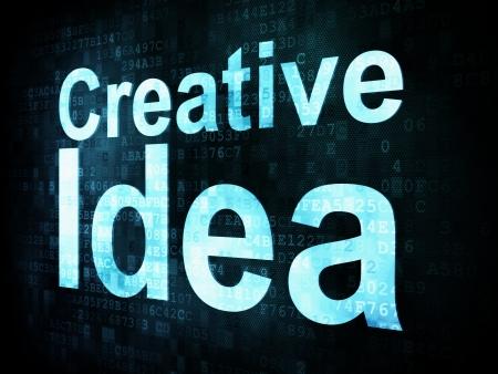 Marketing concept: pixelated words Creative Idea on digital screen, 3d render Stock Photo - 16813951
