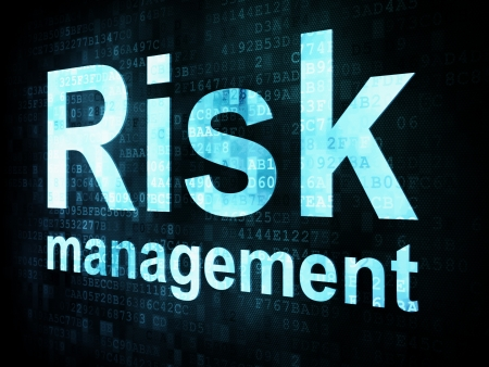Management concept: pixelated words Risk management on digital screen, 3d render Stock Photo - 16813955