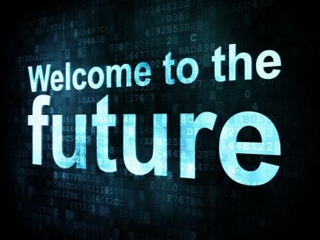 cronologia: Concepto Hora: palabras pixelados Bienvenido al futuro en la pantalla digital, 3d