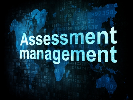 Management concept: pixelated words Assessment management on digital screen, 3d render photo