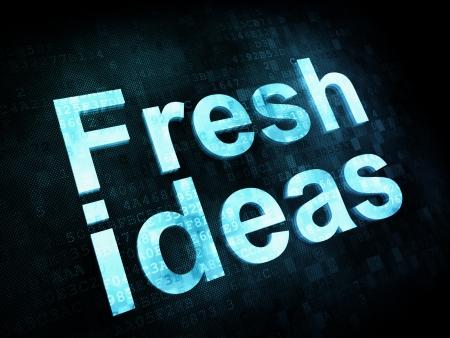 Marketing concept: pixelated words Fresh ideas on digital screen, 3d render Stock Photo - 16814001