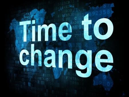 chronologie: La notion de temps: Temps pix�lis�e mots pour en modifier l'�cran num�rique, render 3d