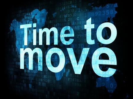 cronologia: Concepto Hora: palabras pixelada para moverse en la pantalla digital, 3d Foto de archivo