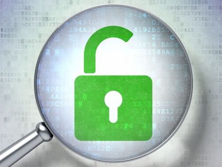 Magnifying optical glass with opened padlock icon on digital background, 3d render Stock Photo - 16814054