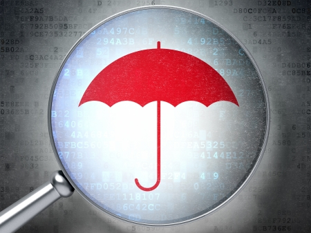 Magnifying optical glass with Umbrella icon on digital background, 3d render Stock Photo - 16814075