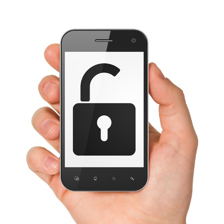 unlock: Hand holding smartphone with opened padlock on display. Generic mobile smart phone in hand on white background. Stock Photo