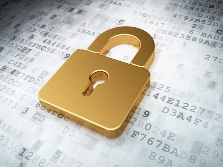 защита: золотые закрытого замка на цифровой фон, 3d визуализации