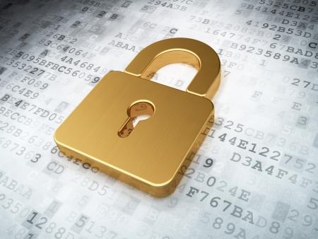 개인 정보 보호: 황금 디지털 배경에 자물쇠를 폐쇄, 3d 렌더링