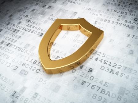 golden contoured shield on digital background, 3d render