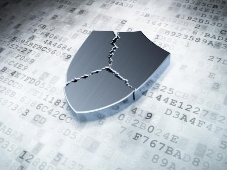 silver broken shield on digital background, 3d render Stock Photo - 16926995