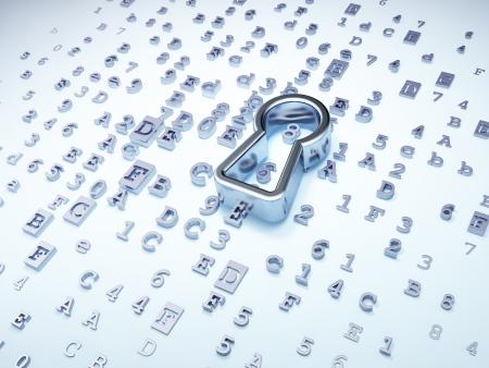 silver keyhole on digital background, 3d render Stock Photo - 16926972