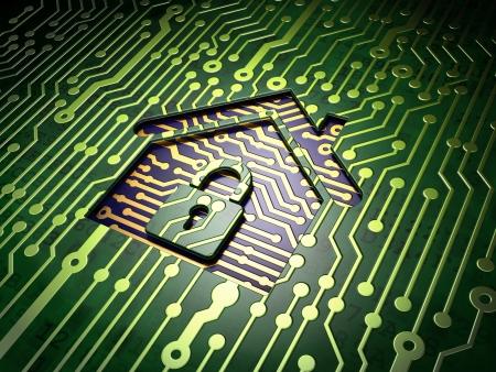 Concepto de seguridad: placa de circuito con casa icono, 3d render