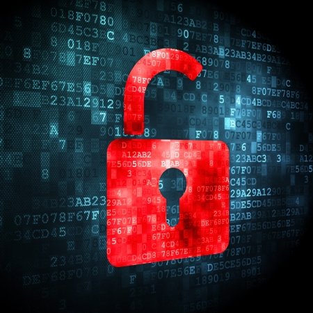 Security concept: pixelated opened padlock icon on digital background, 3d render Stock Photo - 16922912