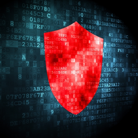 Security concept: pixelated shield icon on digital background, 3d render Stock Photo - 16927066