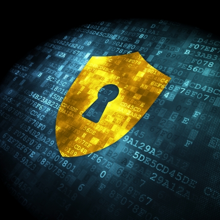 Security concept: pixelated shield with keyhole icon on digital background, 3d render Stock Photo - 16927025