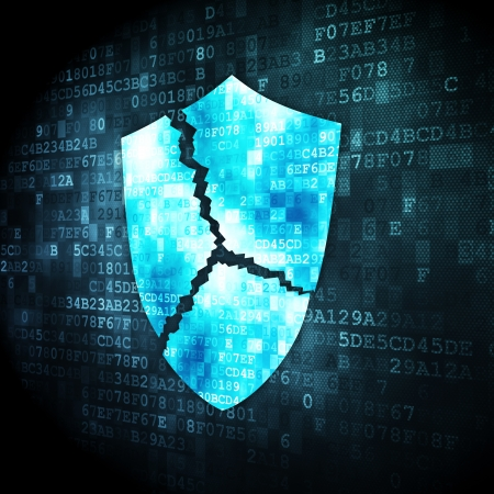 Security concept: pixelated broken shield icon on digital background, 3d render Stock Photo - 16922910