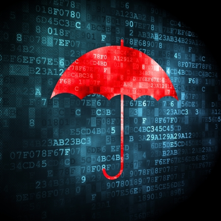 Security concept: pixelated Umbrella icon on digital background, 3d render Stock Photo - 16927067