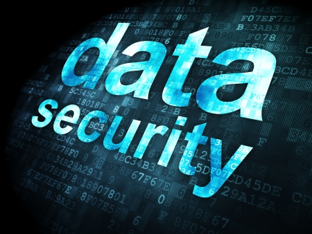Security concept: pixelated words data security on digital background, 3d render Stock Photo - 16927034