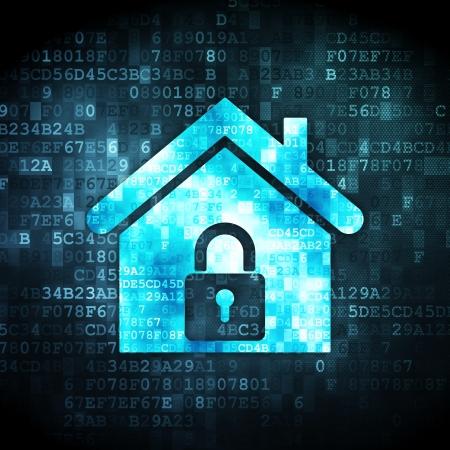 Concepto de seguridad: icono de la casa en el fondo pixelado digital, 3d render Foto de archivo