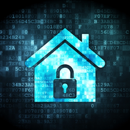 Security concept: pixelated home icon on digital background, 3d render photo