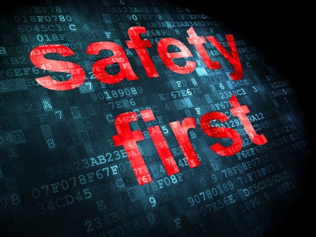 Security concept: pixelated words safety first on digital background, 3d render Stock Photo - 16927042