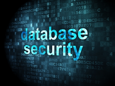 Security concept: pixelated words database security on digital background, 3d render Stock Photo - 16927011