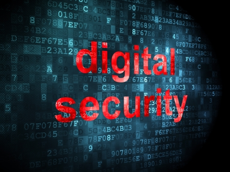 Security concept: pixelated words digital security on digital background, 3d render Stock Photo - 16927031