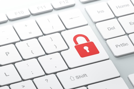 Enter button with closed padlock on computer keyboard, 3d render Stock Photo - 16926984
