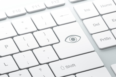Enter button with eye on computer keyboard, 3d render Stock Photo - 16926971