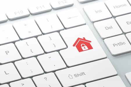Enter button with home on computer keyboard, 3d render Stock Photo - 16926981
